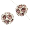 Rhinestone Bead 10mm Round Silver/Light Amythest